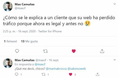 Tuit de Max Camuñas sobre el banner de cookies