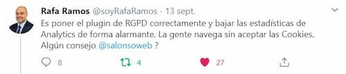 Tuit de Rafa Ramos sobre RGPD y datos perdidos